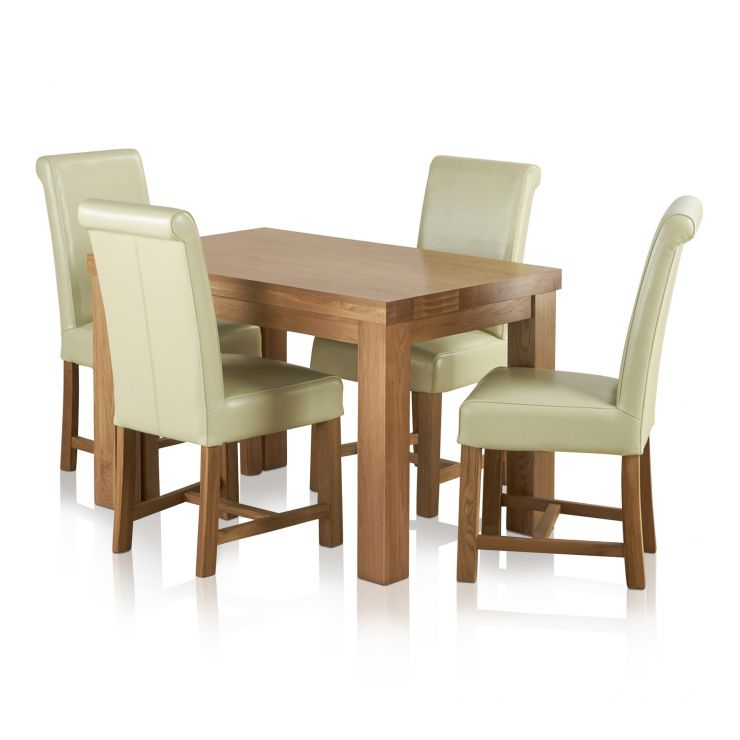 Fresco Natural Solid Oak Dining Set - 4ft Table with 4 Braced Scroll Back Cream Leather Chairs - Image 1