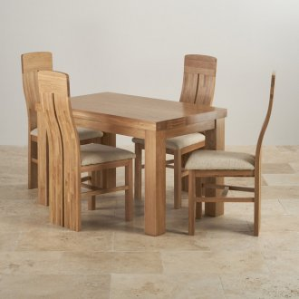 Fresco Natural Solid Oak Dining Set - 4ft Table with 4 Lilly and Plain Beige Fabric Chairs