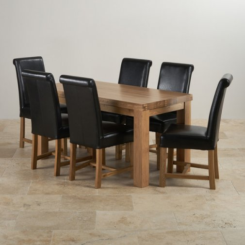 Fresco Natural Solid Oak Dining Set - 5ft Table with 6 Braced Scroll Back Black Leather Chairs