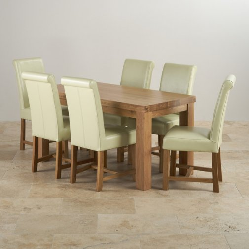 Fresco Natural Solid Oak Dining Set - 5ft Table with 6 Braced Scroll Back Cream Leather Chairs