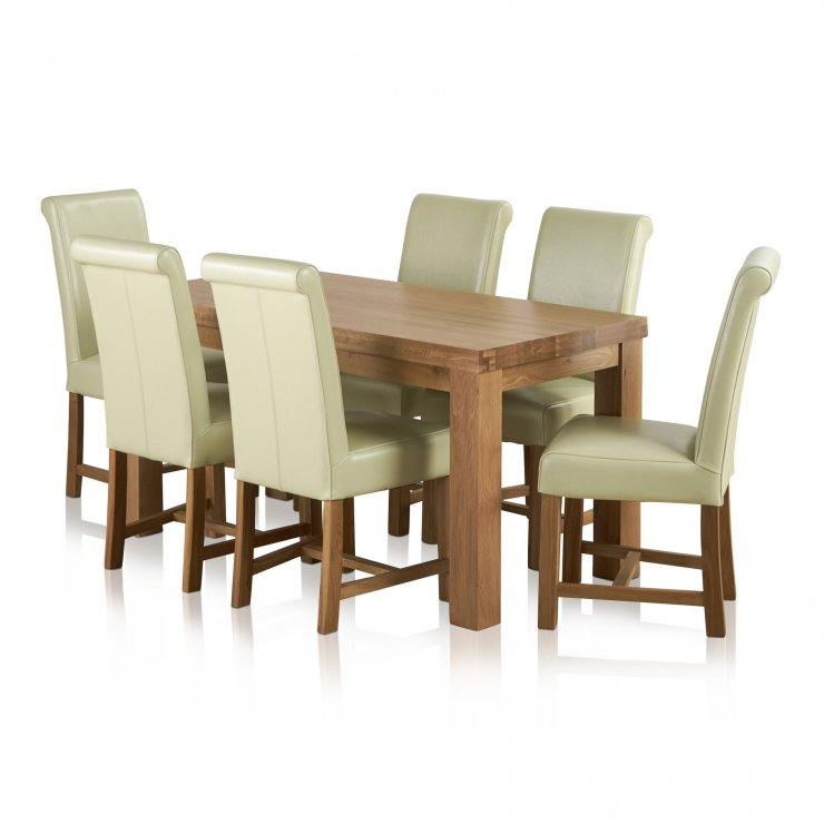 Fresco Natural Solid Oak Dining Set - 5ft Table with 6 Braced Scroll Back Cream Leather Chairs - Image 6