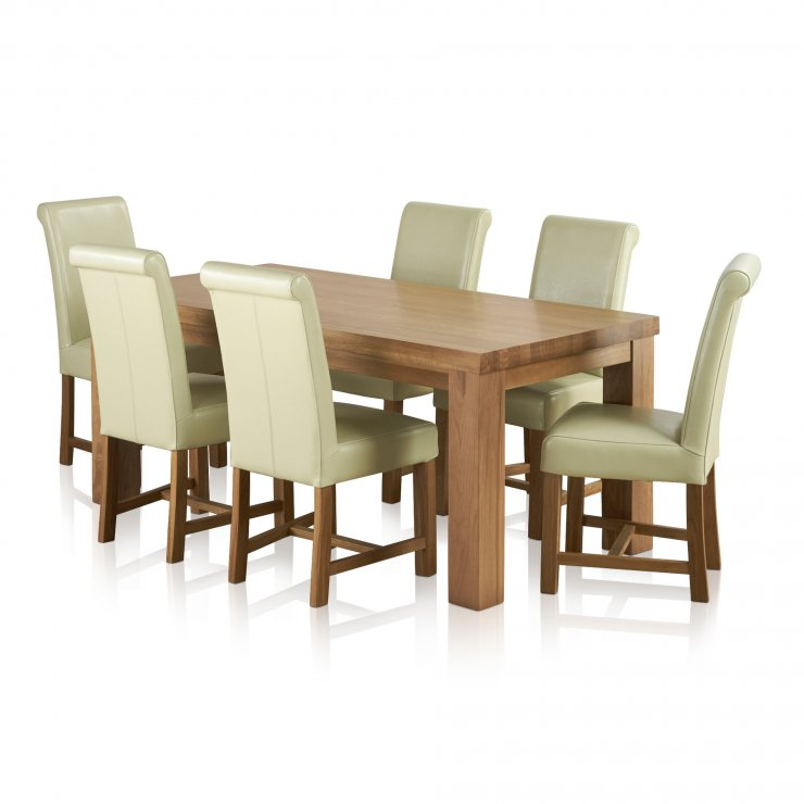 Fresco Natural Solid Oak Dining Set - 6ft Table with 6 Braced Scroll Back Cream Leather Chairs - Image 6