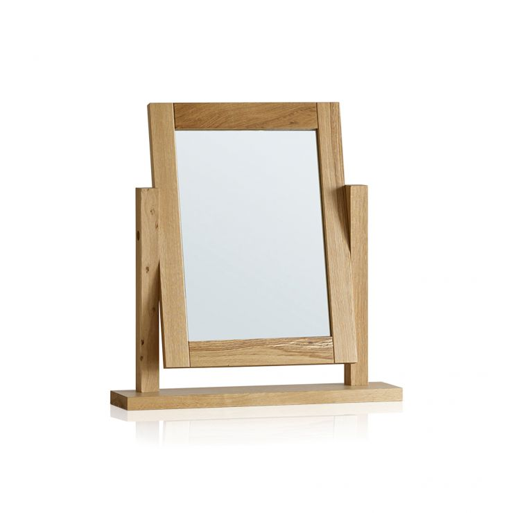 Fresco Natural Solid Oak Dressing Table Mirror - Image 4