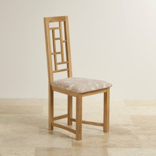 Fret Back Natural Solid Oak and Beige Patterned Fabric Dining Chair