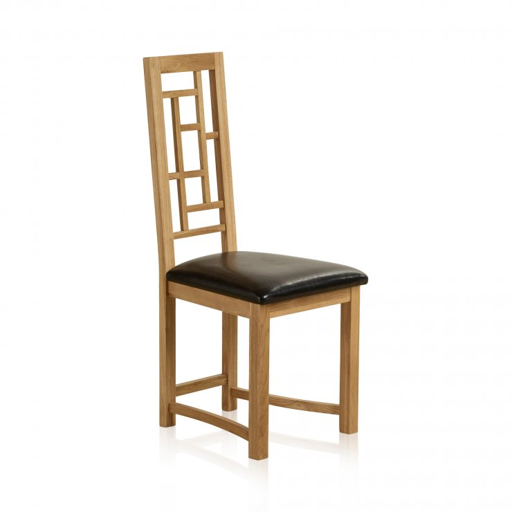 Fret Back Natural Solid Oak and Black Leather Dining Chair - Image 3