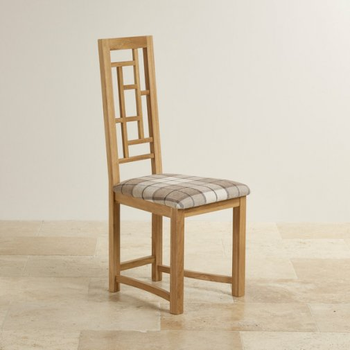 Fret Back Natural Solid Oak and Brown Checked Fabric Dining Chair