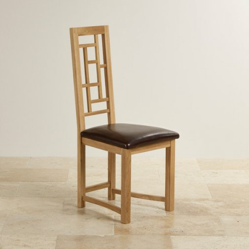 Fret Back Natural Solid Oak and Brown Leather Dining Chair