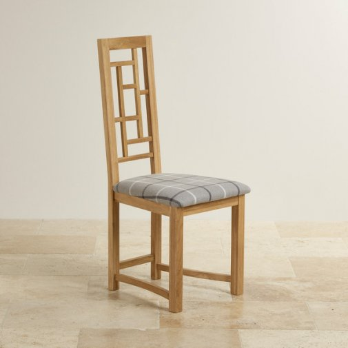 Fret Back Natural Solid Oak and Check Granite Fabric Dining Chair