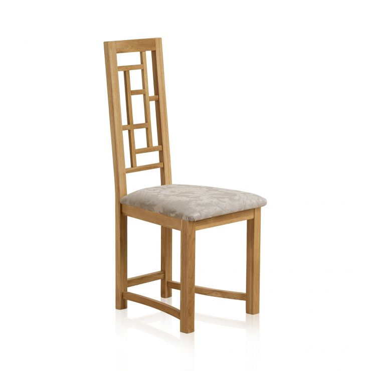 Fret Back Natural Solid Oak and Patterned Silver Floral Fabric Dining Chair - Image 1