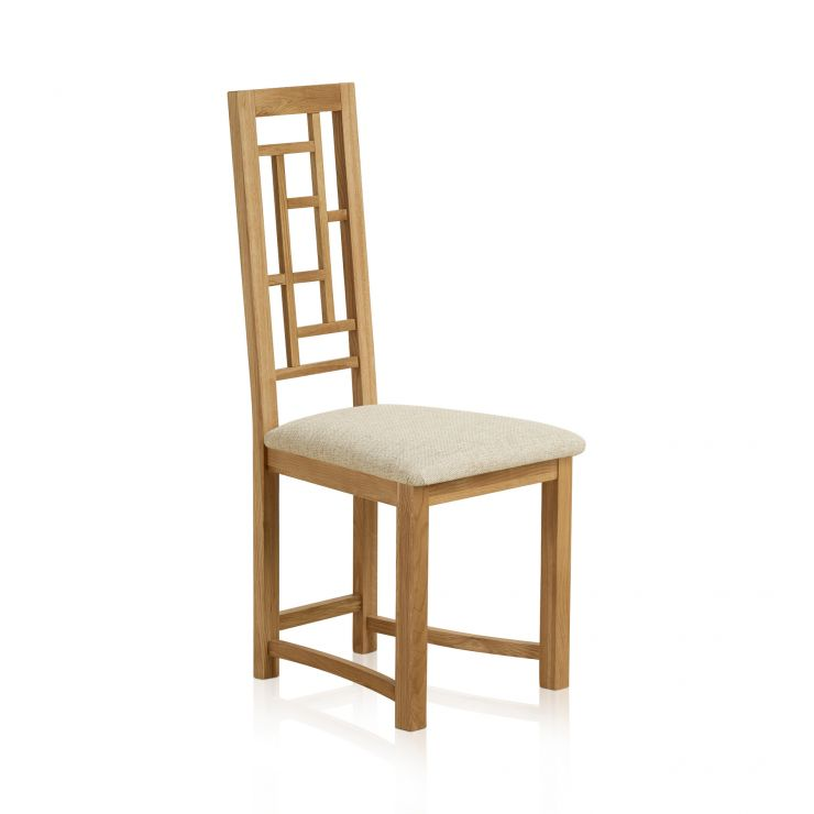 Fret Back Natural Solid Oak and Plain Beige Fabric Dining Chair - Image 3