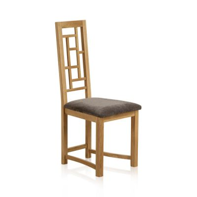 Fret Back Natural Solid Oak and Plain Charcoal Fabric Dining Chair