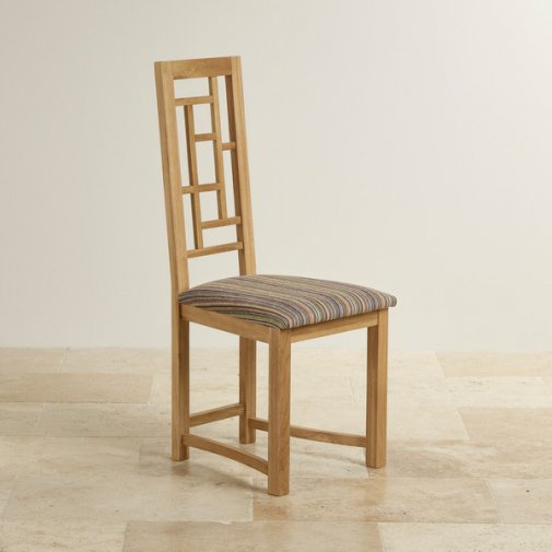 Fret Back Natural Solid Oak and Striped Multi-Coloured Fabric Dining Chair