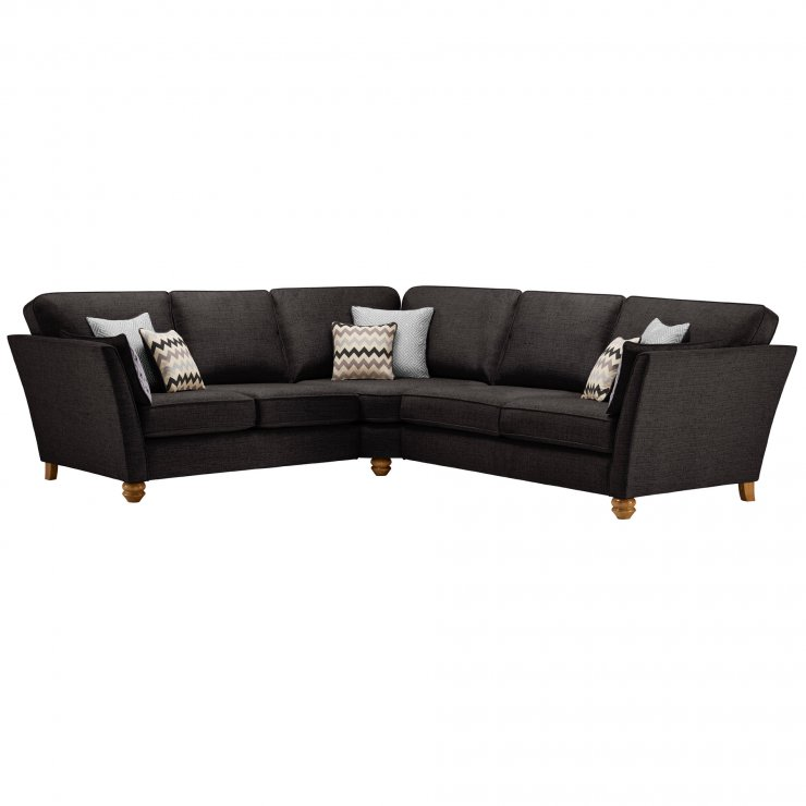Gainsborough Large Corner Sofa in Black with Silver Scatters - Image 1