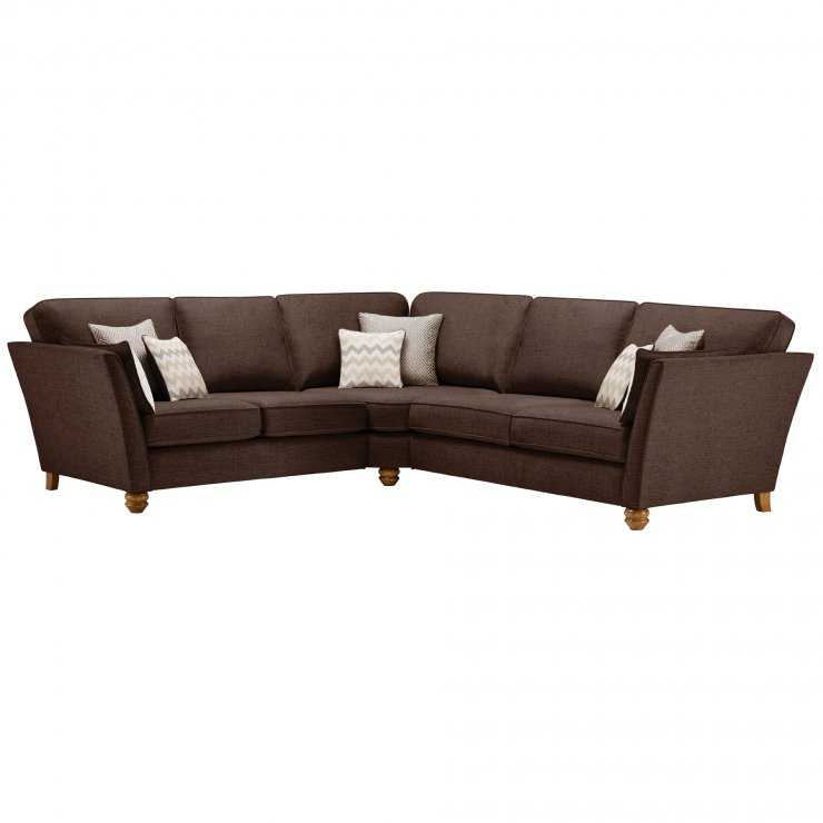 Gainsborough Large Corner Sofa in Brown with Beige Scatters - Image 1