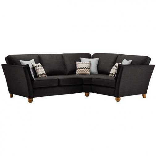 Gainsborough Left Hand Corner Sofa in Black with Silver Scatters