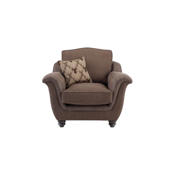 Galloway Armchair in Blyth Fabric - Brown with Almudar Stag Scatter