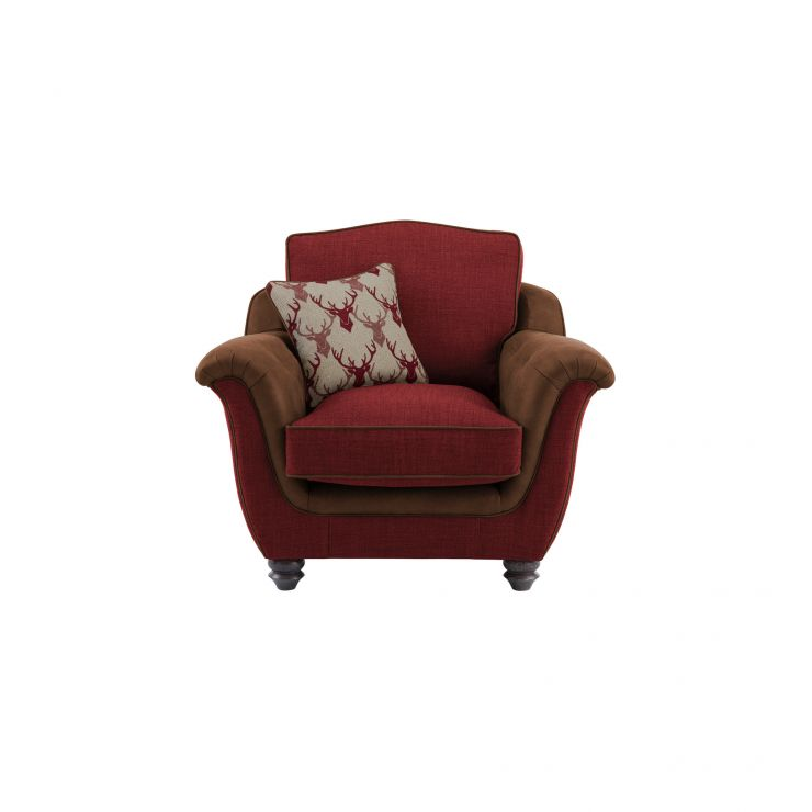 Galloway Armchair in Blyth Fabric - Red with Almudar Stag Scatter - Image 1