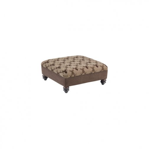 Galloway Large Accent Footstool in Brown Almudar Stag Head