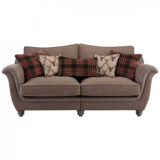 Galloway 3 Seater High Back Sofa in Blyth Fabric - Brown with Brown Check Scatters