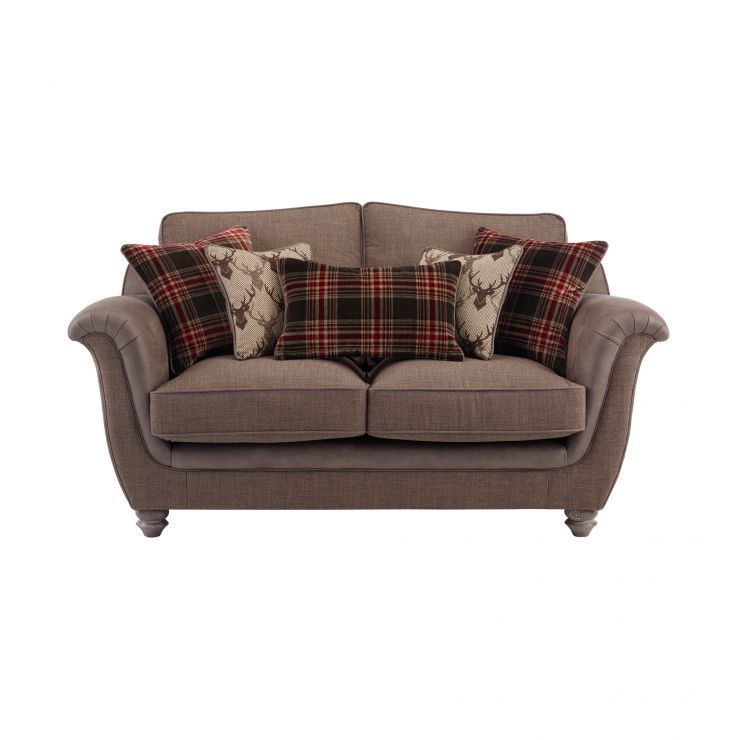 Galloway 2 Seater High Back Sofa in Blyth Fabric - Brown with Brown Check Scatters - Image 1