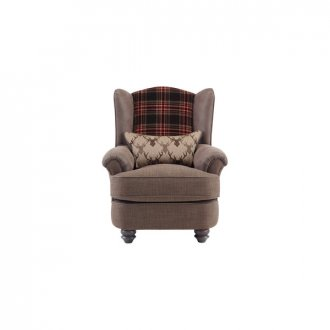 Galloway Wing Chair in Blyth Fabric - Brown with Almudar Stag Bolster