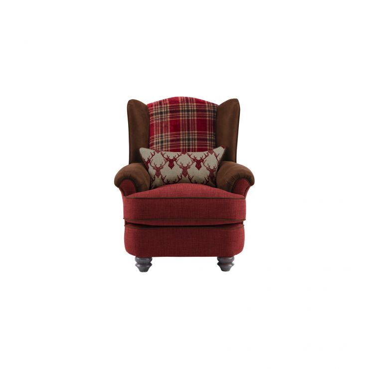 Galloway Wing Chair in Blyth Fabric - Red with Almudar Stag Bolster