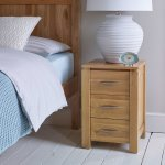 Galway Natural Solid Oak 3 Drawer Bedside Table - Thumbnail 3
