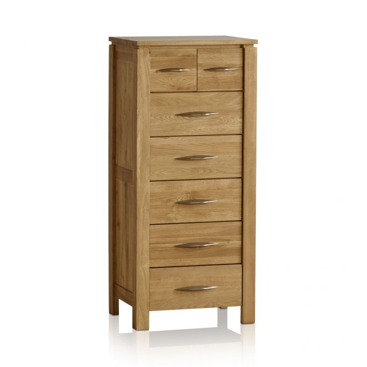 Galway Natural Solid Oak 5+2 Drawer Tallboy - Image 6