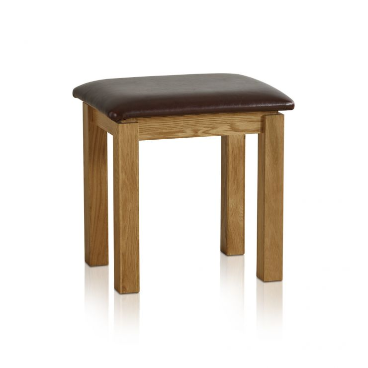 Galway Natural Solid Oak and Leather Dressing Stool