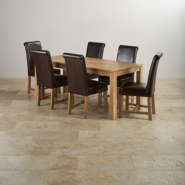 Galway Natural Solid Oak Dining Set - 6ft Table with 6 Braced Scroll Back Brown Leather Chairs