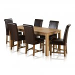 Galway Natural Solid Oak Dining Set - 6ft Table with 6 Braced Scroll Back Brown Leather Chairs - Thumbnail 1