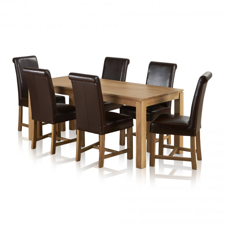Galway Natural Solid Oak Dining Set - 6ft Table with 6 Braced Scroll Back Brown Leather Chairs - Image 5