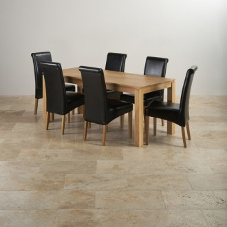 Galway Natural Solid Oak Dining Set - 6ft Table with 6 Scroll Back Black Leather Chairs