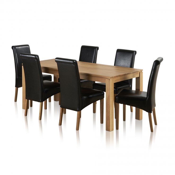Galway Natural Solid Oak Dining Set - 6ft Table with 6 Scroll Back Black Leather Chairs - Image 5