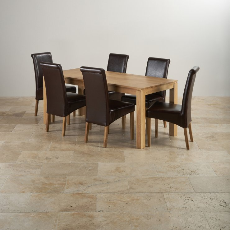 Galway Natural Solid Oak Dining Set - 6ft Table With 6 Scroll Back Brown Leather Chairs