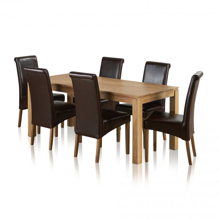 Galway Natural Solid Oak Dining Set - 6ft Table With 6 Scroll Back Brown Leather Chairs - Image 5