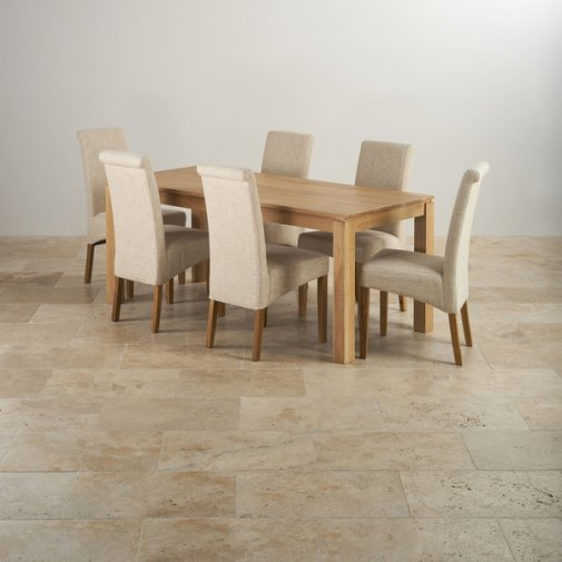 Galway Natural Solid Oak Dining Set - 6ft Table With 6 Scroll Back Plain Beige Fabric Chairs