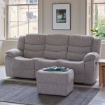 Grayson 3 Seater Electric Recliner Sofa - Silver Fabric - Thumbnail 4