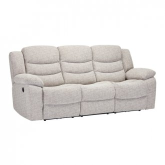 Grayson 3 Seater Electric Recliner Sofa - Silver Fabric
