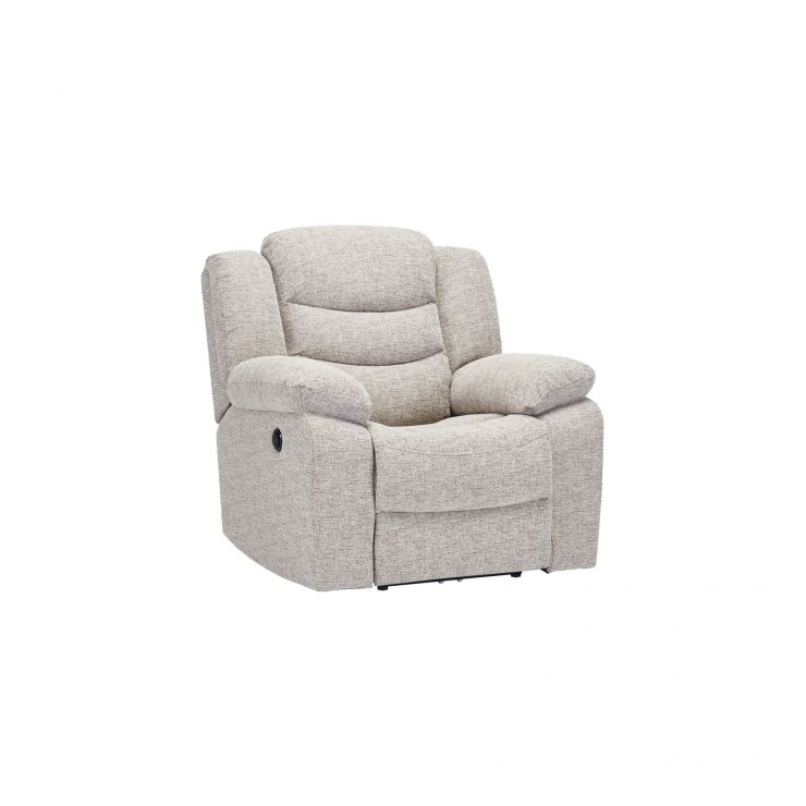 Grayson Electric Recliner Armchair - Silver Fabric - Image 4