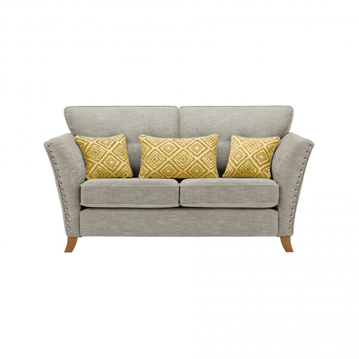 Grosvenor 2 Seater Sofa in Silver with Yellow Scatters - Image 1