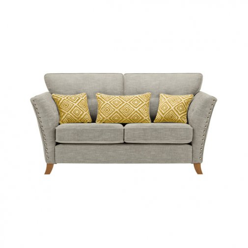 Grosvenor 2 Seater Sofa in Silver with Yellow Scatters