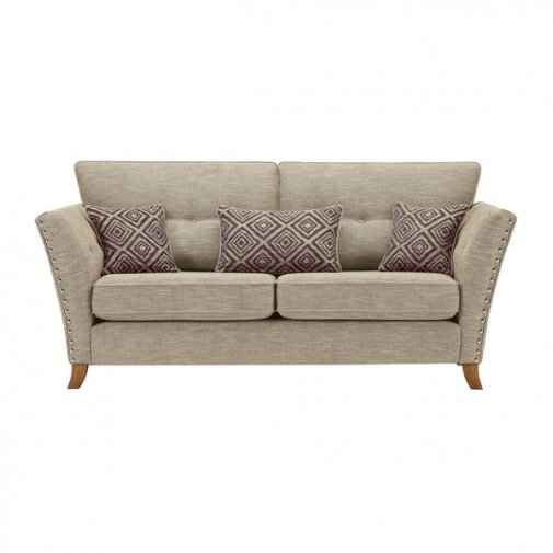 Grosvenor 3 Seater Sofa in Beige with Grey Scatters