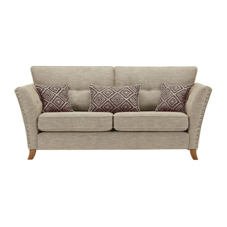 Grosvenor 3 Seater Sofa in Beige with Grey Scatters - Image 2