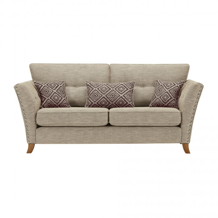 Grosvenor 3 Seater Sofa in Beige with Grey Scatters - Image 1