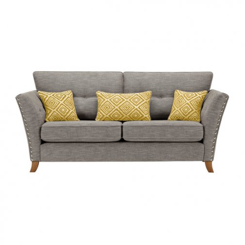 Grosvenor 3 Seater Sofa in Grey with Yellow Scatters