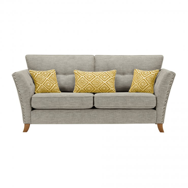 Grosvenor 3 Seater Sofa in Silver with Yellow Scatters - Image 1
