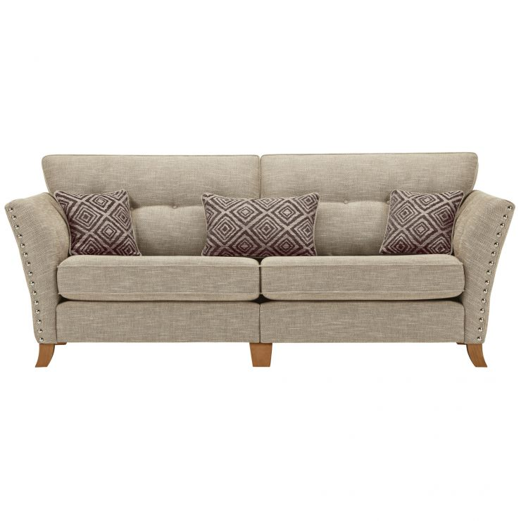 Grosvenor 4 Seater Sofa in Beige with Grey Scatters - Image 2