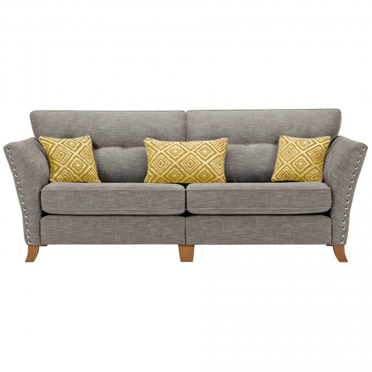Grosvenor 4 Seater Sofa in Grey with Yellow Scatters - Image 1