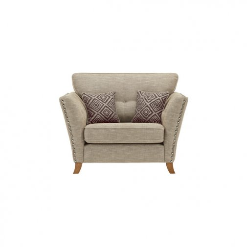 Grosvenor Loveseat in Beige with Grey Scatters